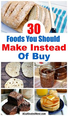 30 Foods You Should Make Instead of Buy- An easy way to save money on food is simply to make more foods yourself. And most foods are easier to create than you would think! Take a look at these 30 money saving foods to make at home! Frugal Meals, Cheap Meals, Budget Meals, Easy Meals, Frugal Tips, Money Saving Meals, Save Money On Groceries, Grocery Savings Tips, Do It Yourself Home