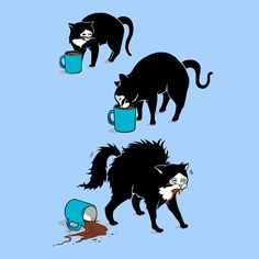 This funny cat t-shirt has an adorable cat illustration with a cute cat drinking coffee (and freaking out). It's the perfect unique hipster graphic tee for cat owners, cat lovers, and anyone who knows