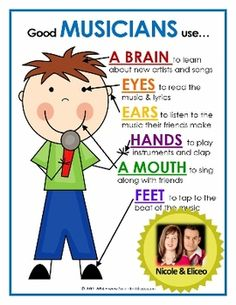 Nicole and Eliceo Good Students Use… Mini Posters for reading, writing, math, science & MORE! Kindergarten Music, Teaching Music, Teaching Kids, Music Anchor Charts, Music Charts, Music Lesson Plans, Music Lessons, Music Bulletin Boards, Music School