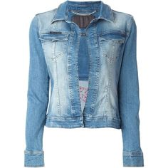 PHILIPP PLEIN 'Arena' denim jacket ($1,434) ❤ liked on Polyvore featuring outerwear, jackets, coats & jackets, tops, pattern jacket, long sleeve denim jacket, print jacket, long sleeve jacket and blue jackets