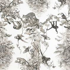 Eemblematic wallpaper 'EQUATEUR' by Robert Dallet for HERMES Paris. A large-scale drawing of equatorial fauna and flora. Tier Wallpaper, Luxury Wallpaper, Animal Wallpaper, Custom Wallpaper, Wallpaper Quotes, Iphone Wallpaper Tropical, Hermes Home, Hermes Paris, Tropical Animals