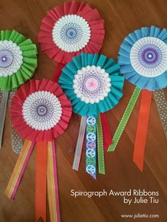 End the school year with colorful award ribbons with Spirograph centers. Give them away or to add to gifts!