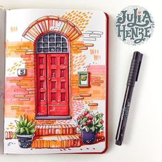 32 ideas for door illustration drawings sketch Art And Illustration, Watercolor Illustration, Watercolor Paintings, Illustrations, Watercolour, Marker Kunst, Marker Art, Art Drawings Sketches, Cute Drawings
