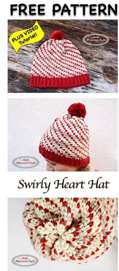 Crochet Beanie Design Swirly Heart Hat - Free Crochet Pattern - The Swirly Heart Hat crochet pattern uses the waistcoat aka knit stitch and is super fun and easy to make. Who does not love swirls and hearts on hat? Crochet Bebe, Crochet Gifts, Free Crochet, Knit Crochet, Crochet Fabric, Crochet Beanie Hat, Knitted Hats, Crochet Designs, Crochet Patterns