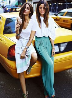 Loving the outfit on the right... either big trousers or long skirt super fun fabric to wear!