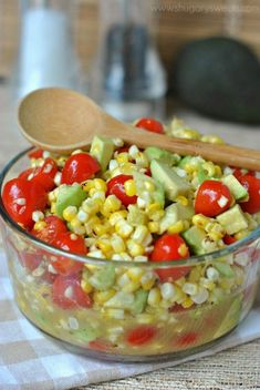 Roasted Corn Salad with Honey Lime Dressing, tomatoes and avocado! A new favorite recipe at our house!