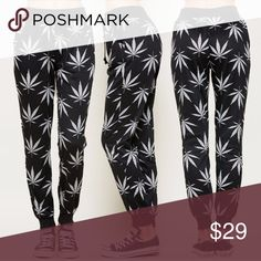🆕Weed Leaf / Cannabis Print Jogger Perfect with your fresh white sneaks and bomber jacket. Rock your street style and rep your lifestyle with these Joggers Pants Track Pants & Joggers