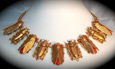 "Askew London ""Cicada Bug"" Linked Necklace GP Brass Coral Glass Cabochons | eBay"