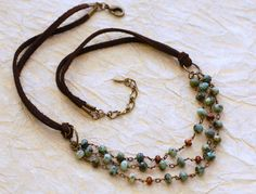 "Turquoise Wire Wrapped Leather Layered Necklace. $72.00, via Etsy. 18"" shortest layer."