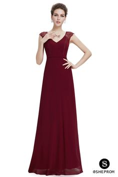 430e6e68999 Burgundy long chiffon formal dress with cap sleeves.  gt  gt Click to view