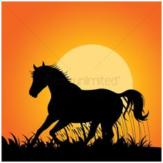 silhouette of horse running vector graphic