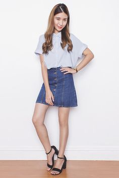 Get this look: http://lb.nu/look/7716088  More looks by Tricia Gosingtian: http://lb.nu/tgosingtian  Items in this look:  Happymallow Skirt, Happymallow Top, Sole Story Heels   #casual #classic #preppy