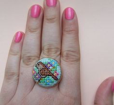 Cross-Stitch Sparrow and Flowers Ring