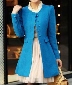 Women Blue OL Wool coat Cashmere winter coat Hood cloak Hoodie cape Hooded Cape/clothing /jacket/dress