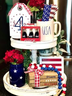 Fourth Of July Decor, 4th Of July Decorations, July 4th, Table Decorations, Labor Day Crafts, Tiered Stand, July Crafts, Beaded Garland, Tray Decor