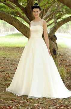 Illusion Princess/Ball Gown Wedding Dress  with Natural Waist in Satin. Bridal Gown Style Number:33023920
