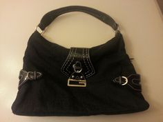 Large GUESS Black Shoulder Bag Metal Decor Lots Of Room Good Condition #GUESS #ShoulderBag On eaby!