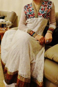Pakistani dress, white with flower detailing