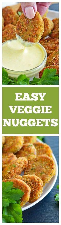 Veggie Nuggets with VEGAN Honey Mustard Dipping Sauce