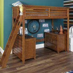 Willow Run Brown Tall Loft Bed