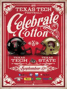 A poster I did for Texas Tech. Texas Tech Football, College Football, Football Helmets, Sports Organization, Cotton Bowl, Texas Tech University, Sports Marketing, Red Raiders, Print Design