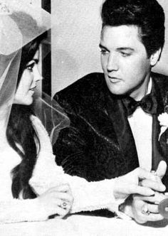 Priscilla and Elvis meeting the press after the wedding ceremony on May