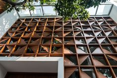 Rumah Budiman | ABODAY Office Building Architecture, Building Facade, Facade Architecture, Building Skin, Small House Design, Modern House Design, Facade Design, Exterior Design, Jaali Design