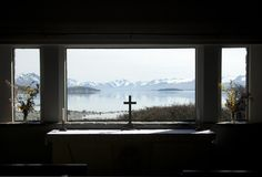 Look out on Lake Tekapo from within the Church of the Good Shepherd