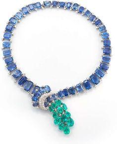 David Webb New York - Rectangular and oval-cut sapphires (Ceylon, no heat), pear-shaped Columbian emeralds, brilliant-cut diamonds, and platinum