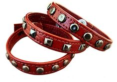 Red Leather Bracelet with Studs  Handmade by WrapItSnapIt on Etsy, $13.00