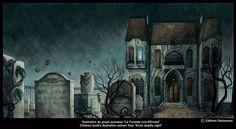 Benjamin Lacombe PortFolio - La Funeste nuit d'Ernest ... look st the grave stone <3