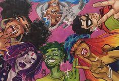 Black Love Art, Black Girl Art, Art Girl, Dope Cartoon Art, Cartoon Art Styles, Black Cartoon, Black Art Painting, Black Artwork, Arte Indie