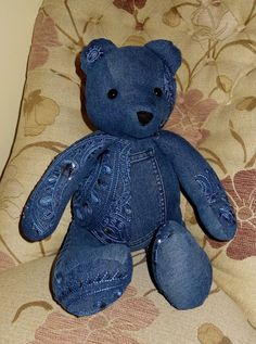 Unique Upcycled Denim Jeans Teddy Bear by StuffingandSprings, £28.00
