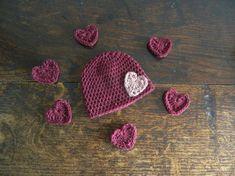 37975d7a233 Valentines Heart Baby Crochet Beanie - Hand Made Heart Motif Baby Hat - Crochet  Newborn Baby Hat - Baby Shower Gift - Vegan Wool Baby Hat