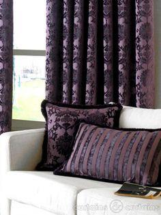 Dulux Luxury Cut Velvet Damson Purple Cushion  Dark Purple Curtains