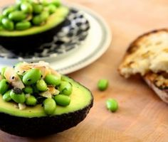Edamame and toasted coconut in avocado from Joy the Baker. Love edamame, toasted coconut, and avocado. Love Joy the Baker. So, love this recipe, by default. I Love Food, Good Food, Yummy Food, Vino Y Chocolate, Edamame Salad, Avocado Salad, Avocado Food, Ripe Avocado, Egg Salad