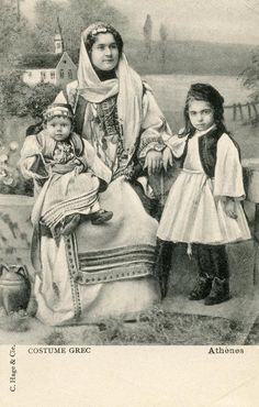 Traditional costumes from Attica, Greece. Postcards, 1910s-1920s.