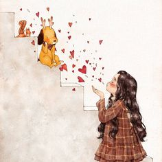 I want to give you my love all the time. 너희들에겐 항상 사랑만 주고 싶어. (Full Ver. grafolio.com/works/271316)  #일러스트 #일러스트레이션 #친구 #사랑 #소녀 #하트 #계단 #강아지 #다람쥐 #체크무늬 #원피스 #illust #illustration #drawing #sketch #paint #girl #friend #love #heart