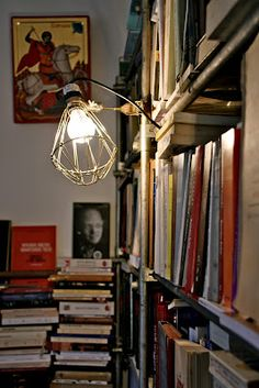 Books and Hay Industrial Clamp Lamp
