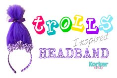 DIY Troll Headband - so cute I had to share! This is where I get my grosgrain ribbon to make hats. Tell them Calico Caps sent yu! www.CalicoCaps.com