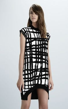 Scanlan Theodore Spring 2014- Crepe Knit Ripple Check Dress