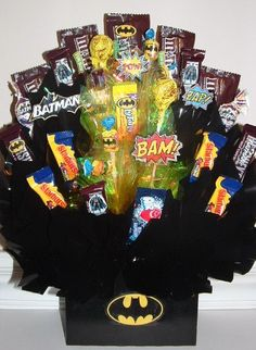 Spiderman, Batman, Superman, Hulk, AVENGERS or  MARVEL Candy Bouquet Centerpiece with Lots of Edible Party Favors to pass out at the Party!