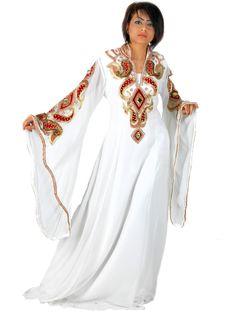 "Aljalabiya.com: ""Velvet Magneto"" Pure Chiffon Jalabiya with hand embroidery with velvet on chest and cuff, $372.00"