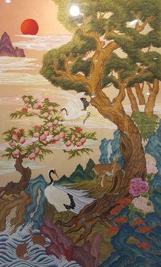 2018 민화 아트페어 다녀왔습니다 : 네이버 블로그 Geisha Kunst, Geisha Art, Korean Art, Asian Art, Egyptian Drawings, Japanese Quilt Patterns, Korean Painting, Chinese Flowers, Japanese Artwork