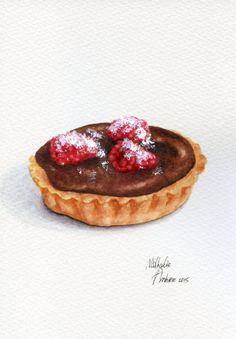 Raspberry Chocolate Tart ORIGINAL Painting by ForestSpiritArt