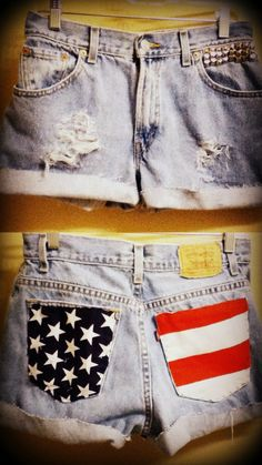 Customização   roupas   DIY   short   jeans   USA   pintura