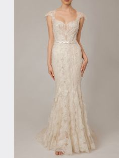 Figurbetontes, spitzenbesetztes Brautkleid im Fit and Flare-Stil. Fit And Flare, Lusan Mandongus, Formal Dresses, Tops, Fashion, Bridal Gown, Dresses For Formal, Moda, Formal Gowns