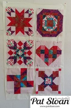 Pat Sloan: Free June Block 2013 - All 6 of my blocks PLUS a fabric audition TIP! Click http://blog.patsloan.com/2013/06/pat-sloan-fabric-review-for-the-aurifil-june-free-block.html
