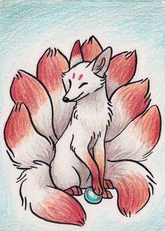 Original ACEO Kitsune Japanese Fox Monster Yokai by AvaniiPlush Cute Fantasy Creatures, Mythical Creatures Art, Cute Animal Drawings, Cute Drawings, Cute Fox Drawing, Fuchs Tattoo, Japanese Fox, Fox Art, Art Drawings Sketches
