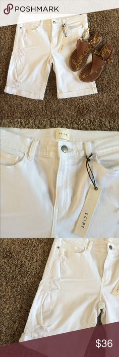 NEW id:23 Marcella Cuffed Distressed Bermuda Brand new with tags! White denim. I received them in my Stitch Fix shipment and just haven't worn them! They are absolutely adorable shorts! Smoke free home! Bundle to save $$.  Sam Edelman sandals are also listed in my closet! They're a 9.5. id:23 Shorts Bermudas